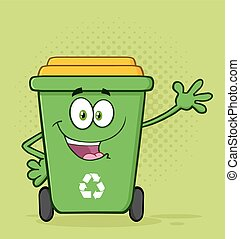 Green Recycle Bin For Greeting - Happy Green Recycle Bin...