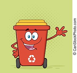 Happy Red Recycle Bin Greeting - Happy Red Recycle Bin...