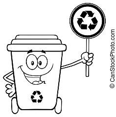 Recycle Bin Holding A Recycle Sign - Black And White Cute...