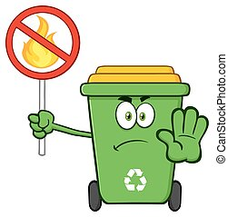 Green Recycle Bin Mascot Character