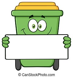 Green Recycle Bin Holding A Blank