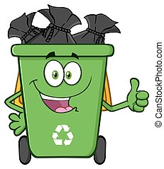Recycle Bin With Garbage Bags - Happy Green Recycle Bin...