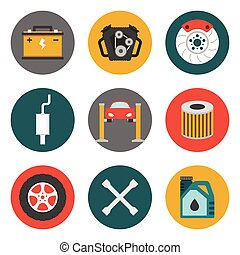 Auto Service Icons Flat Car repair service icons