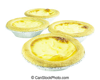 Egg tart custard bakery dessert on white background