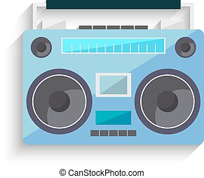 Flat vintage tape recorder. Music boombox. Vector