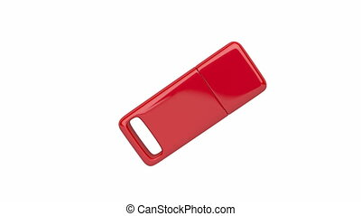 Red usb stick spin on white background