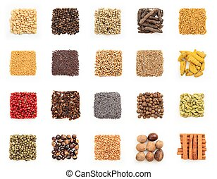 Spices collage on white background