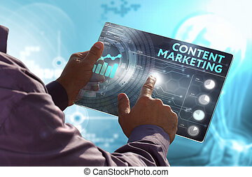 Business, Technology, Internet and network concept. Young...