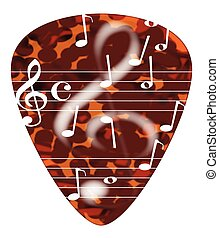 Treble Cleff Plectrum - A typical tortoise shell plectrum...
