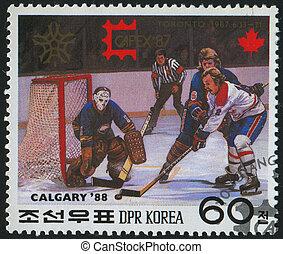 postmark - KOREA - CIRCA 1987: stamp printed by Korea, shows...