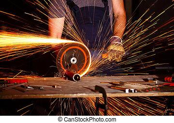 grinder in action
