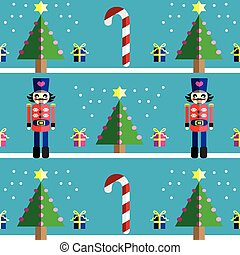 Christmas pattern with nutcracker