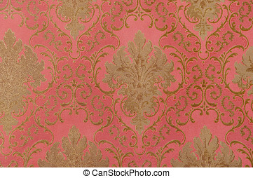 Floral designed Brocade - close up of Floral designed...