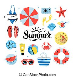 Vector seaside top view illustrations set with Summer word...