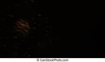 Bright fireworks in night sky. Congratulations. - Bright...