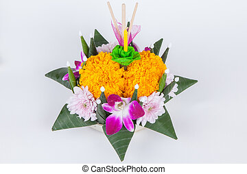 Krathong, the hand crafted floating candle made of floating...