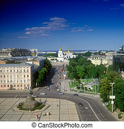 Kyiv. - Ukraine. Overview of Kyiv with Khmelnitsky monument...