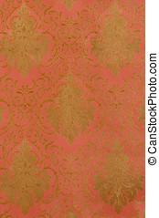 Floral designed Brocade - close up of Floral designed...
