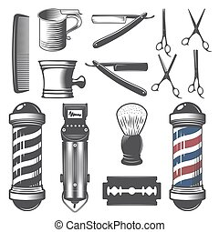 Set of vintage barber shop elements. - Set of vintage barber...