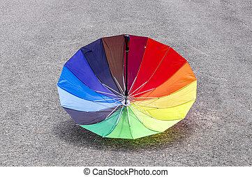 Reversed multicolored umbrella