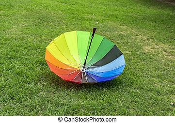 Inverted umbrella in park