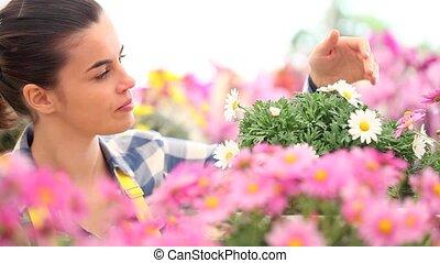 springtime smiling woman in garden