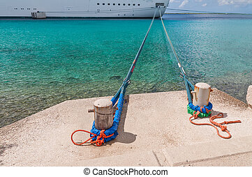 Ship moored in harbor - Looking down the Mooring Lines at...