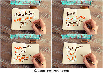 Photo collage of handwritten motivational messages Knowledge...