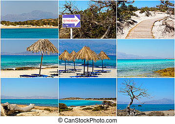 Photo collage with images of Chrissi Island, near Crete, Greece