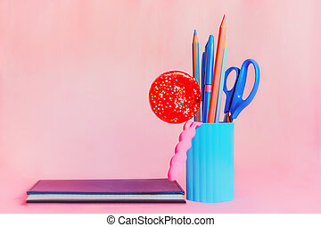 Candy with pink and blue stationery set and notepad - Blue...