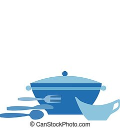 soup pot with bowl, spoon , spoon and knife -1