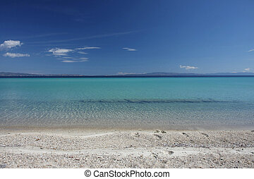 Beauriful nuances of blue colour on the beach - Beauriful...