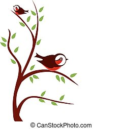 two birds on tree branch with green leafs, vector...