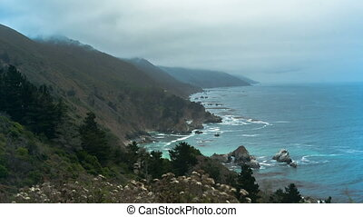 PCH Oceanside Time-lapse - Time-lapse of a misty mountain...