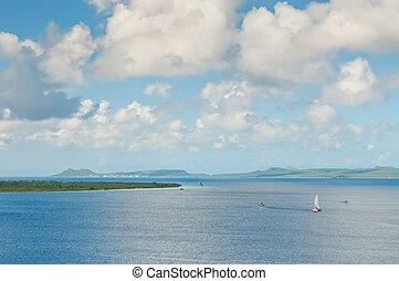 Klein Bonaire on the left and the Bay of Bonaire -...