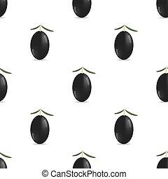 Black Olives Seamless Pattern - Black Olives Isolated on...