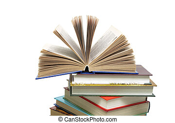 Books closeup isolated on white background.