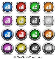 Puzzle glossy button set - Set of puzzle glossy web buttons...
