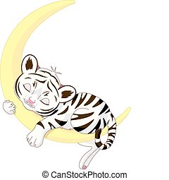 Cute white tiger cub sleeping on th - A cute character of...