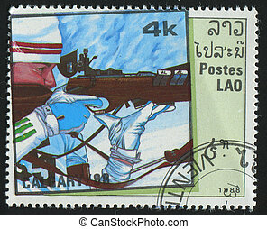 postmark - LAOS - CIRCA 1988: stamp printed by Laos, shows...