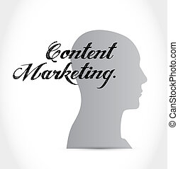 content marketing thinking brain sign concept illustration...