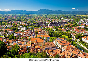 City of Ljubljana and mountains aerial view, capital of...