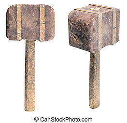 Wooden mallet - Side and tilt view of a dirty, aged wooden...