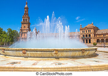 Plaza de Espana - Close up of fountain in Plaza de Espana,...