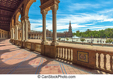 Plaza de Espana Seville - The famous Square of Spain, in...