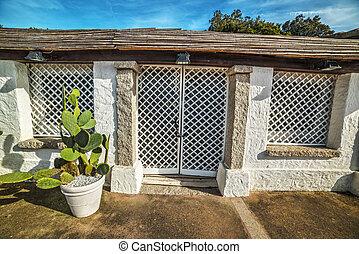 cactus against a rustic wall in Porto Rotondo, Sardinia