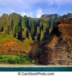 Landscape view of Na Pali cliffs and the beach, Kauai,...