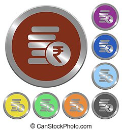Color Indian Rupee coins buttons - Set of color glossy...