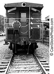 Rear view of a train caboose - a Rear view of a train...