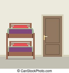 Bunk Bed With A Closed Door Vector Illustration